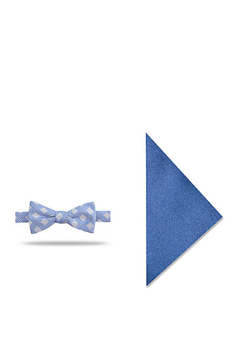 Madison Goran Grid Bow Tie and Pocket Square