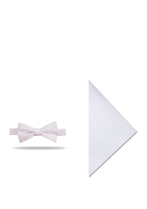 Madison Gino Stripe Bow Tie and Pocket Square