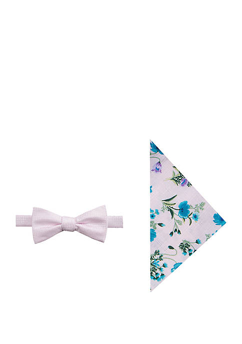 Madison Griff Solid Bow Tie and Pocket Square
