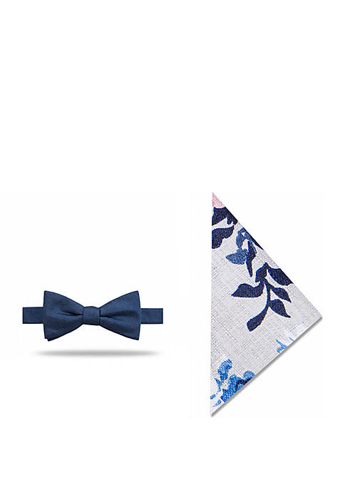 Madison Hartford Solid Floral Bow Tie and Pocket