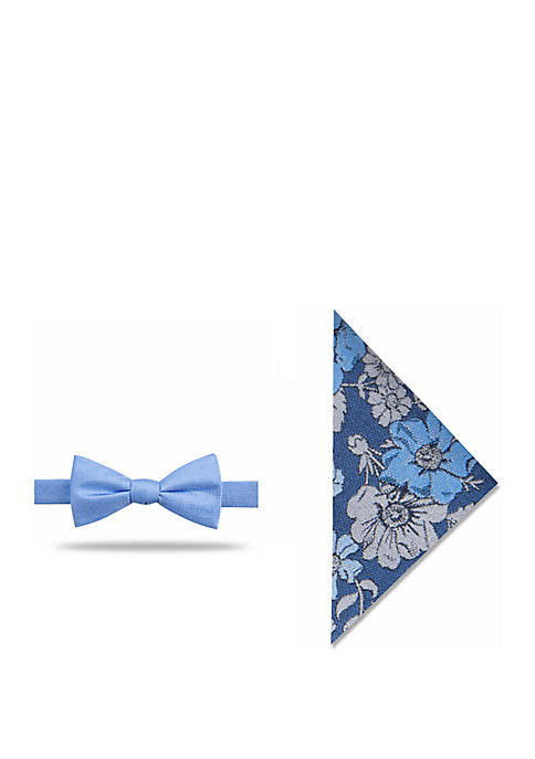 Madison Adin Solid Bow Tie with Floral Pocket