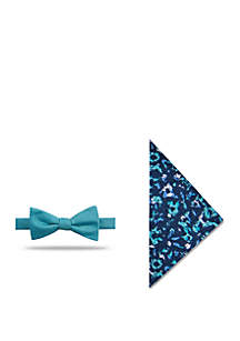 Madison Hamburg Solid Bow Tie and Floral Pocket Square Set