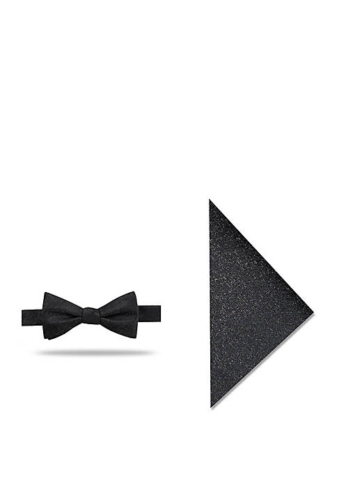 Carencro Solid Bowtie and Pocket Square Set