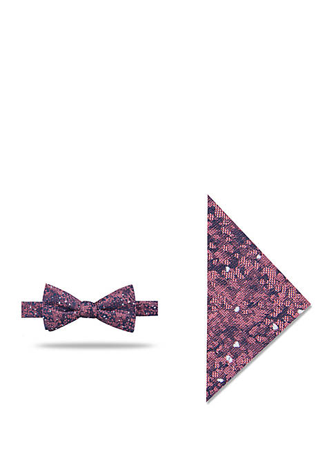 Madison Rouge Abstract Bowtie with Pocket Square