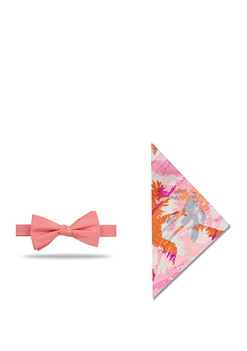 Madison Lafayette Solid Bow Tie and Tropical Pocket