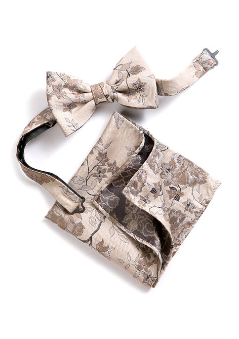 Madison Andie Floral Bow Tie and Pocket Square