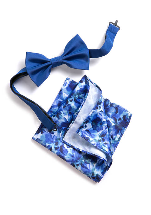 Madison Extra Long Shields Solid/Printed Floral Bow Tie