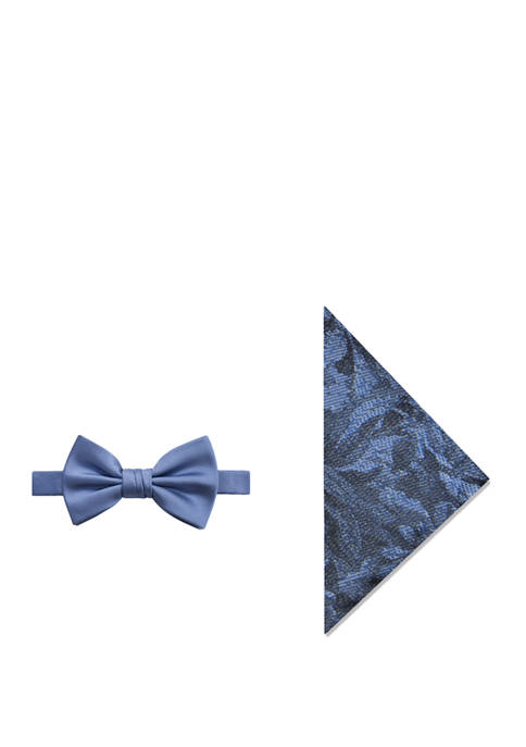 Madison Mens Finbar Solid Bow Tie and Pocket