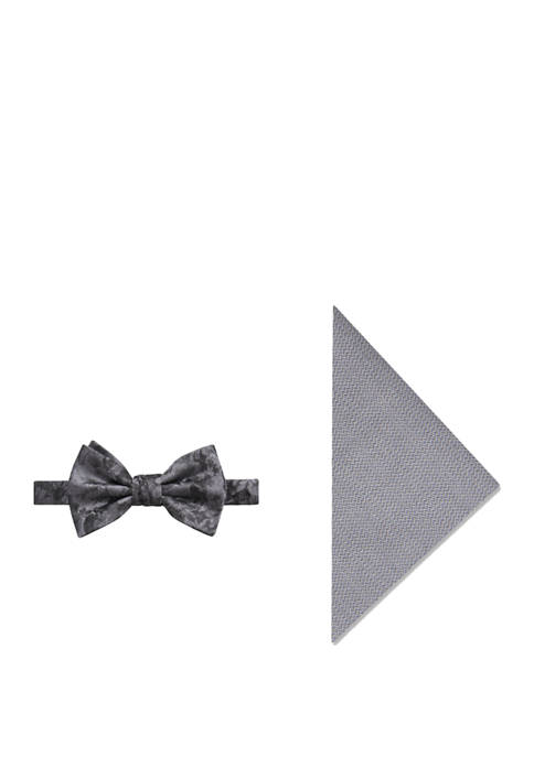 Mens Birch Floral Bow Tie and Pocket Square Set