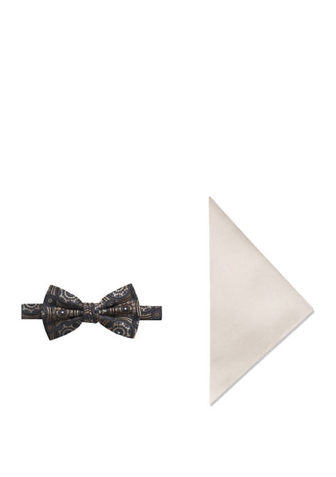 Mens Medallion Bow Tie and Pocket Square Set
