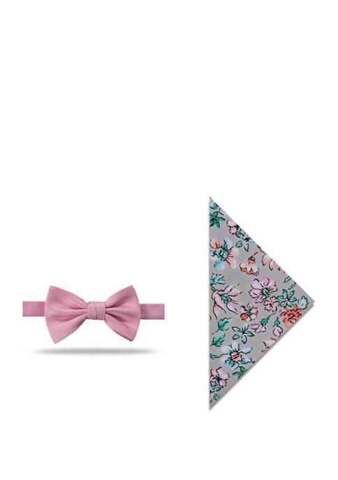 Schooner Solid Bow Tie and Floral Pocket Square Set