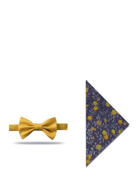 Sabya Solid Bow Tie and Floral Pocket Square Set