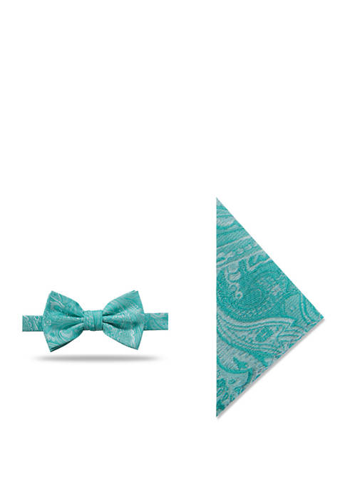 Saunders Paisley Bow Tie and Matching Pocket Square Set