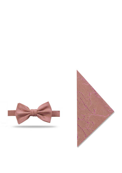 Stanley Solid Bow Tie and Vine Pocket Square Set