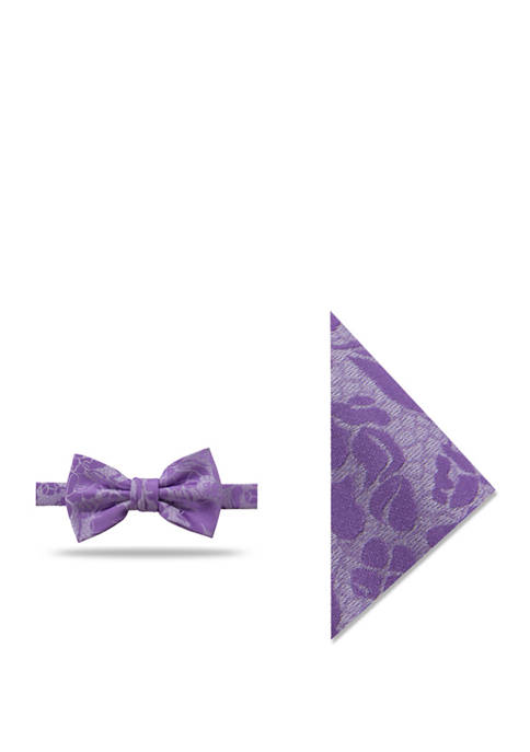 Serra Floral Bow Tie and Matching Pocket Square Set