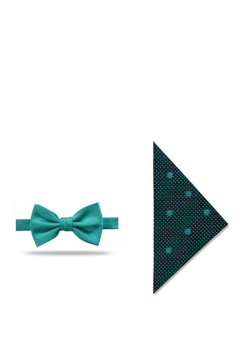 Sutherland Solid Bow Tie and Dot Pocket Square Set
