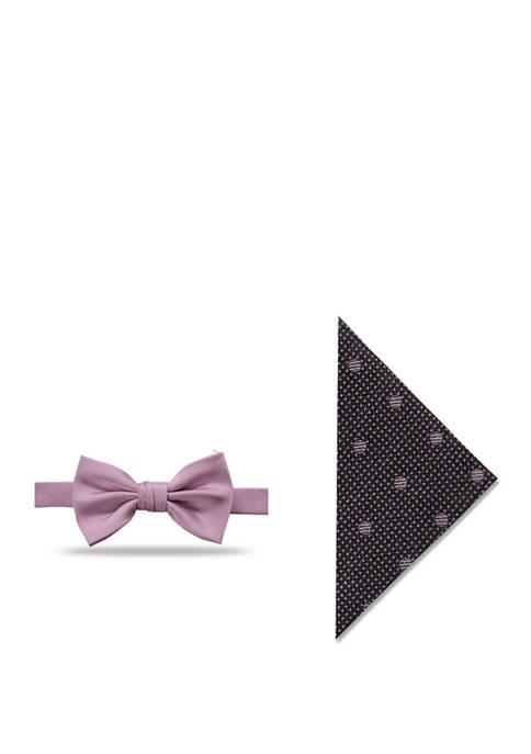 Pre Tied Blush Polka Dot Boys Bow Tie and Pocket Square Kids Childrens Bow Tie