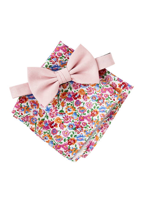 Solid Bow Tie ands Floral Pocket Square Set