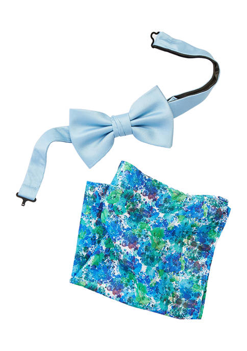 Solid Bow Tie and Printed Pocket Square Set