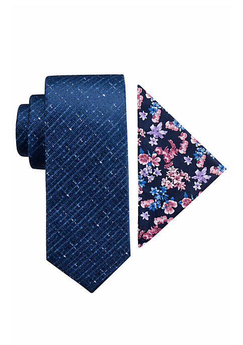 Madison Halifax Solid and Floral Tie Pocket Square