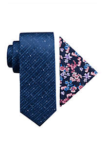 Madison Halifax Solid and Floral Tie Pocket Square Set