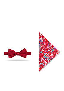 Pre-Tied Solid /Paisley Bow-Tie With Pocket Square