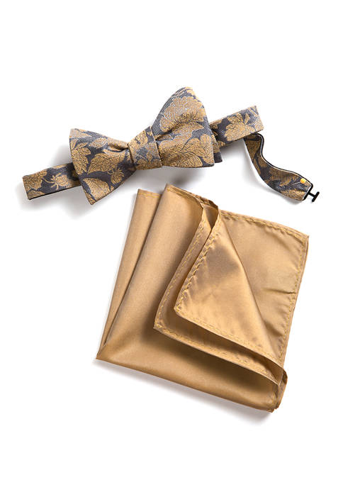 Madison Lawson Floral/Solid Bow Tie and Pocket Square