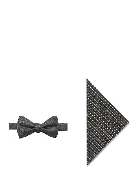Madison Mens Lysander Solid Bow Tie and Pocket