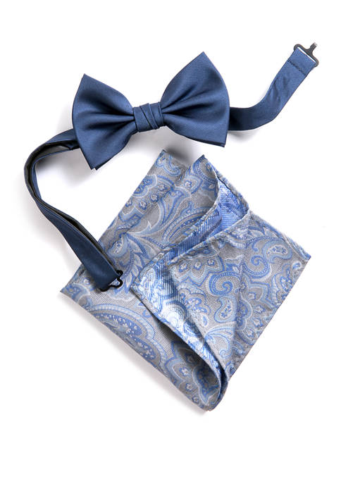 Madison Brees Solid/Paisley Bow Tie and Pocket Square