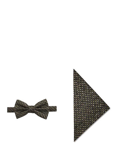 Mens Glitz Geometric Bow Tie and Pocket Square Set