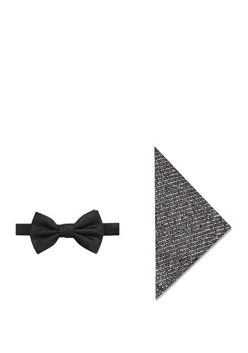 Mens Glitz Check Bow Tie and Pocket Square Set