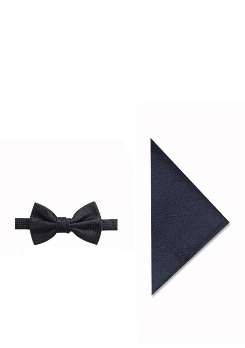 Madison Mens Glitz Grid Bow Tie and Pocket