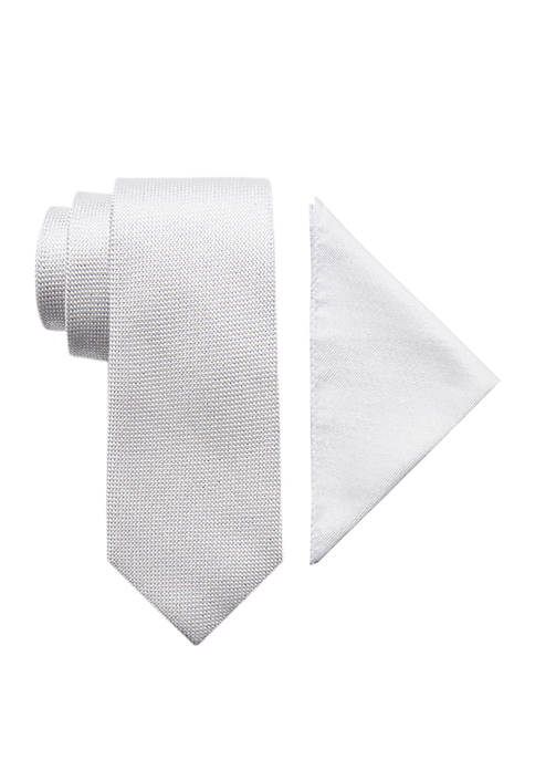 2-Piece Lysander Solid Neck Tie and Pocket Square Set