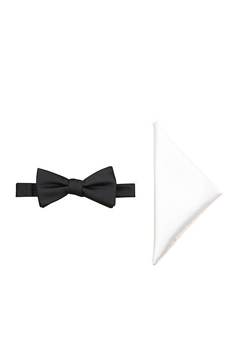 Satin Solid Bow Tie and Pocket Square Set