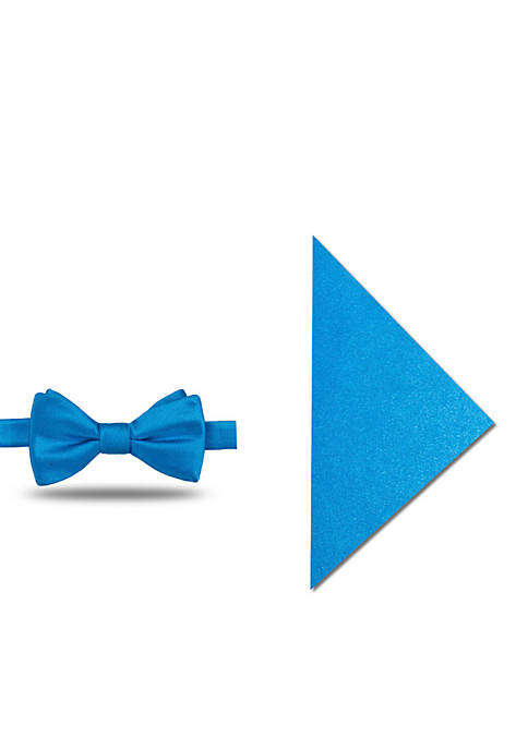 Madison Satin Solid Bow Tie and Pocket Square