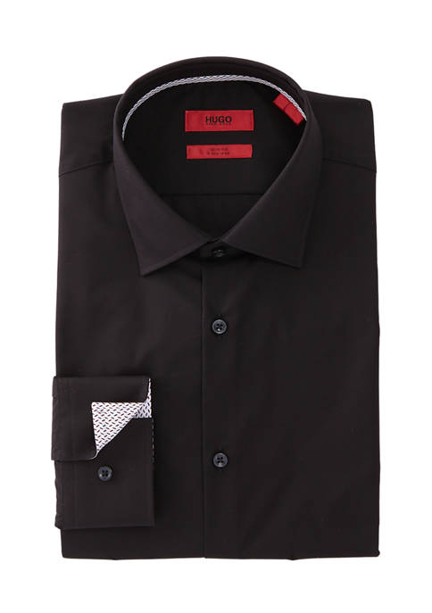 Hugo Boss Slim Fit Solid Black Dress Shirt
