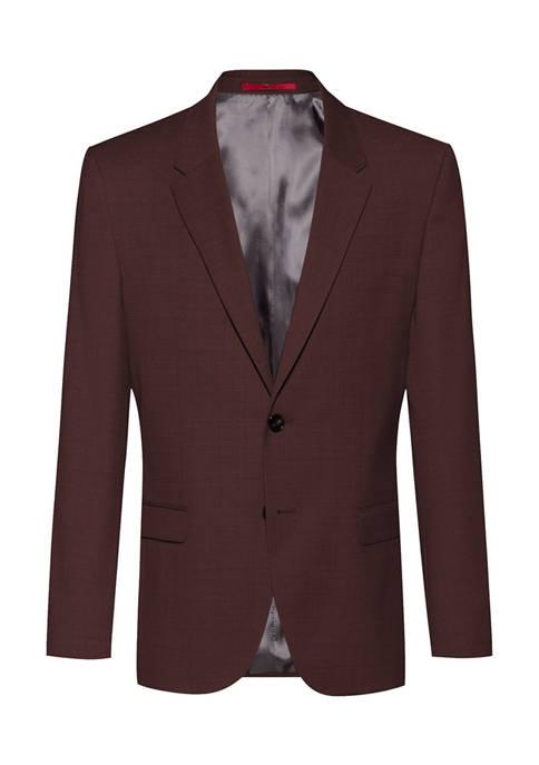 Hugo Boss Mens Solid Burgundy Sport Coat