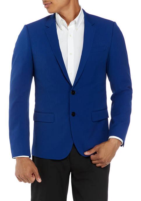 Mens Blue Solid Blazer