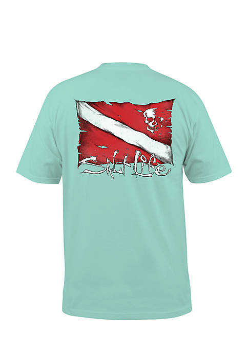 Dive Flag and Skull Short Sleeve Graphic Pocket Tee