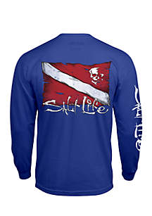 Dive Flag and Skull Long Sleeve Graphic Tee