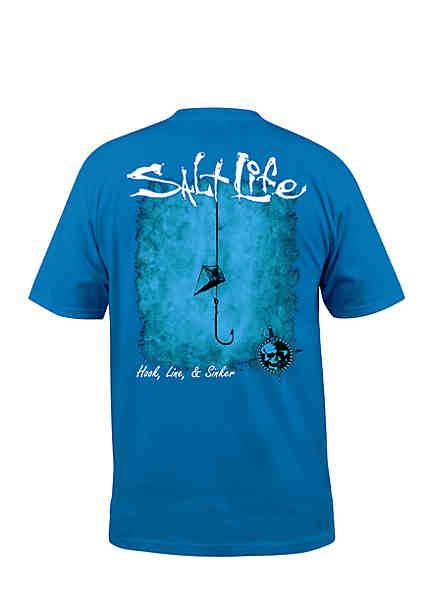 Salt Life Hook Line and Sinker Fade Short Sleeve Graphic Tee ...