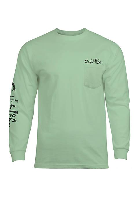 Long Sleeve Marlin Hook Up Graphic T-Shirt