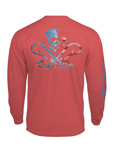 Salt Life Mens Long Sleeve Ameriskull Graphic T-Shirt