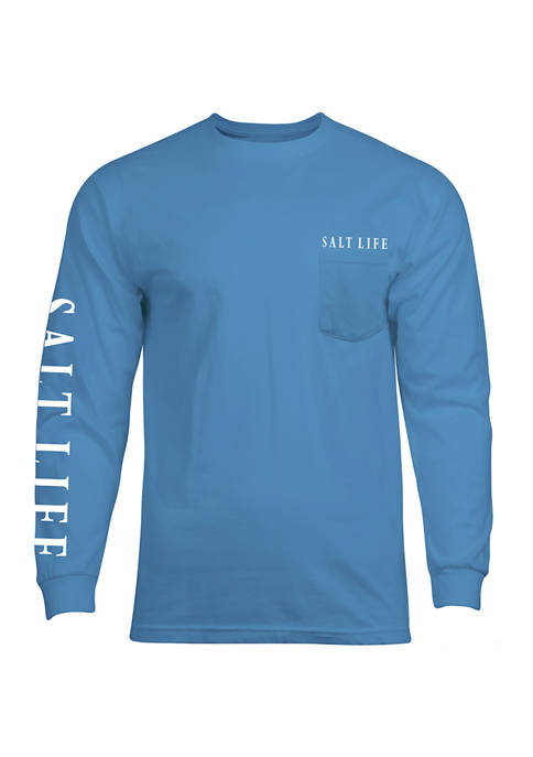 Long Sleeve Lobster Graphic Pocket T-Shirt