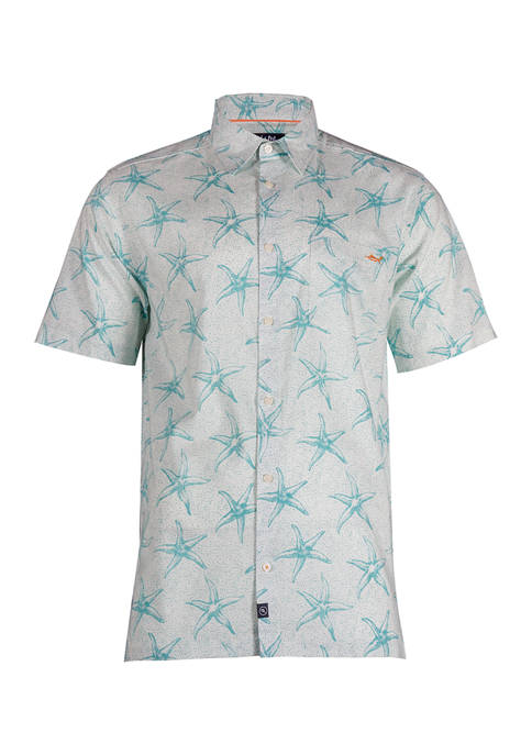 Short Sleeve Seeing Stars Printed Woven Shirt