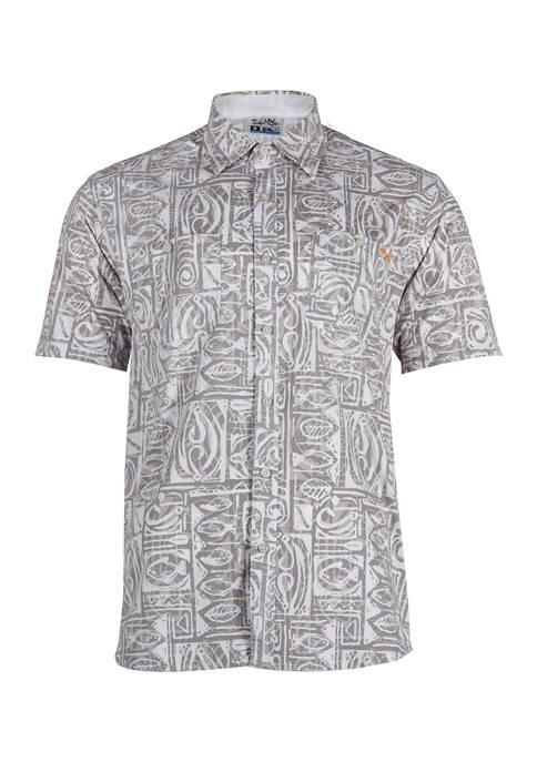 Short Sleeve Fish Trip Printed Woven Shirt