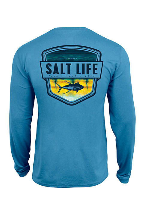 Salt Life Long Sleeve Electric Skinz Badge Performance