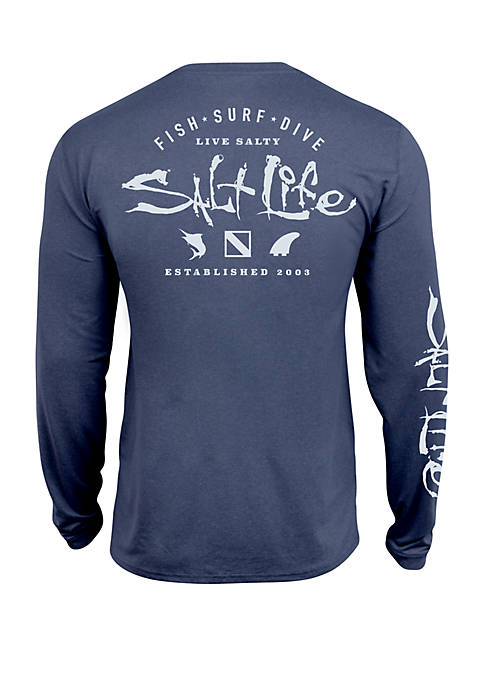 Salt Life Long Sleeve Watermans Trifecta Perforated Tee
