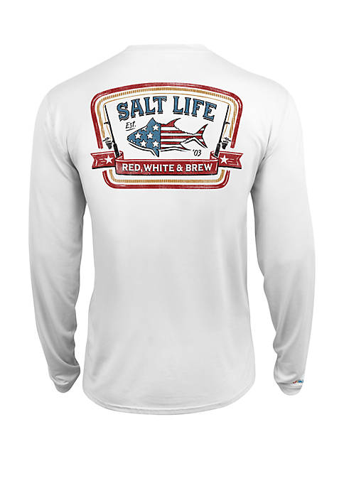 Long Sleeve Red, White and Brew Perforated Tee