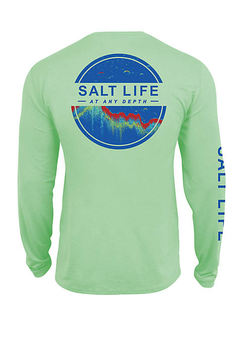 Mens Pistachio Heather Long Sleeve Performance Graphic T-Shirt